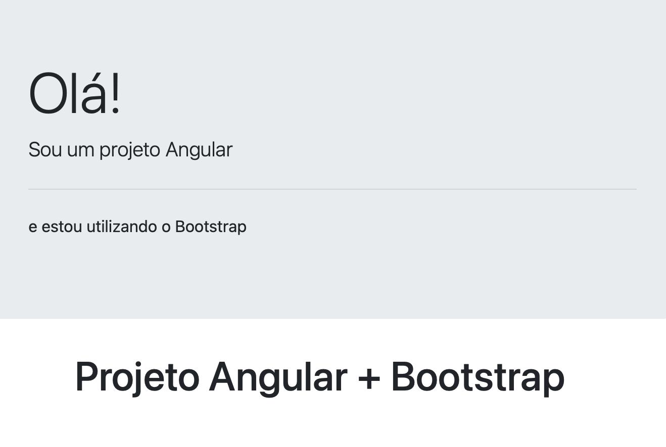 Resultado da configuração do arquivo bootstrap.min.css no projeto Angular