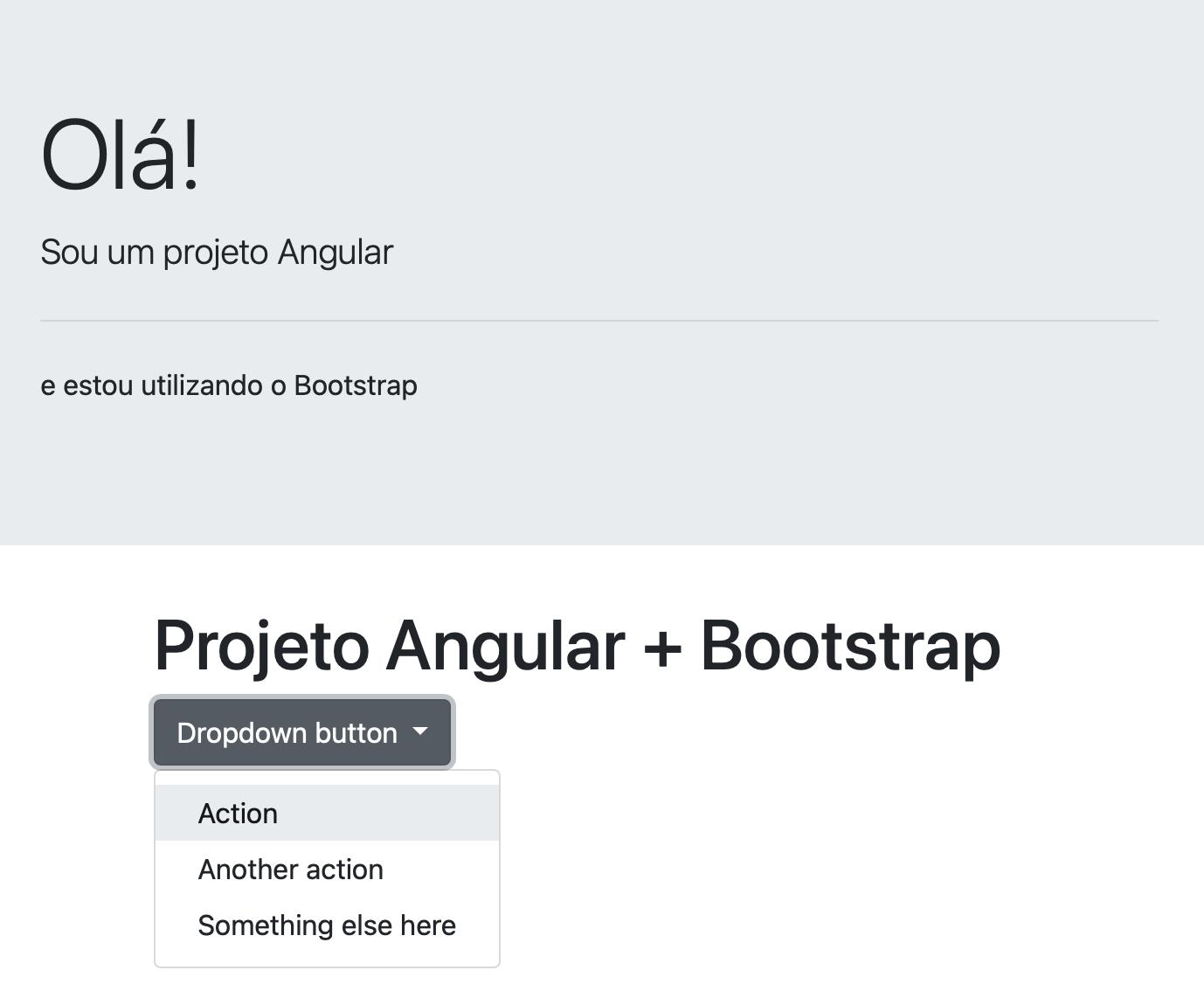 Exemplo do dropdown em funcionamento - projeto Angular + Bootstrap