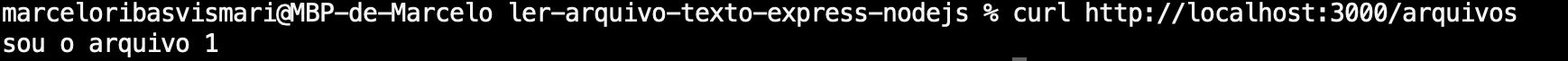 Resultado da requisição GET /arquivos