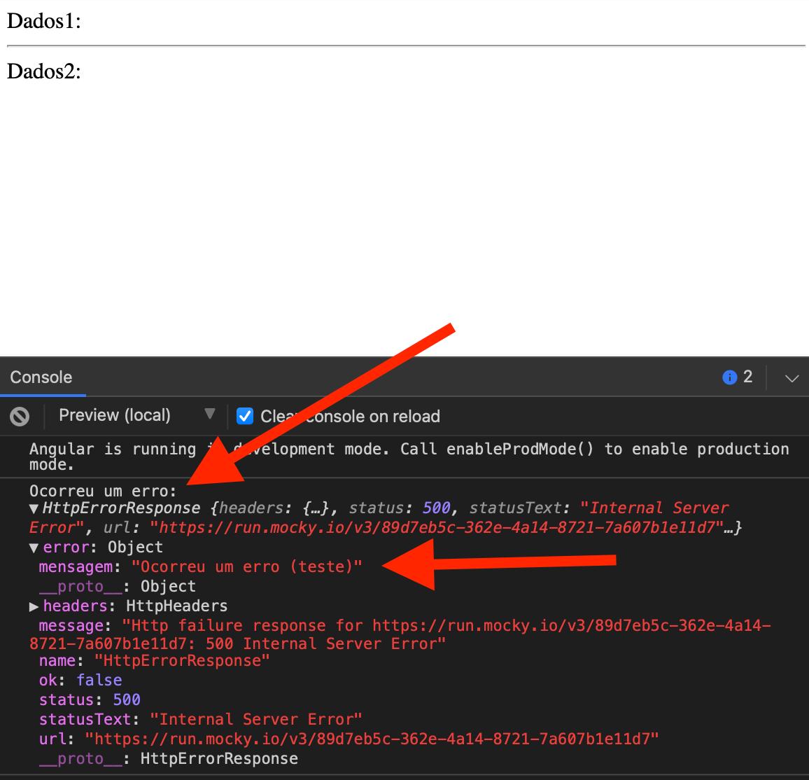 Apresentação do erro no console do navegador emitido pelo forkJoin devido ao erro de uma das requisições