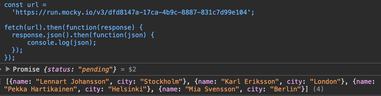 Console do navegador mostrando o resultado da execução do código acima