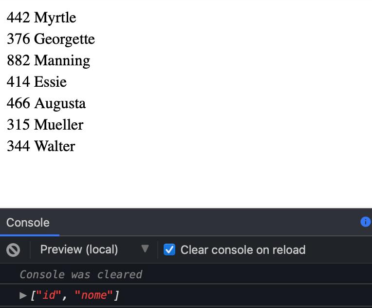Renderização dos dados no componente app-tabela